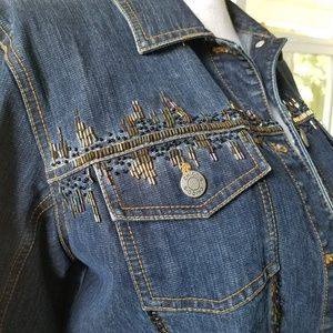 Chico's Beaded Denim Jacket